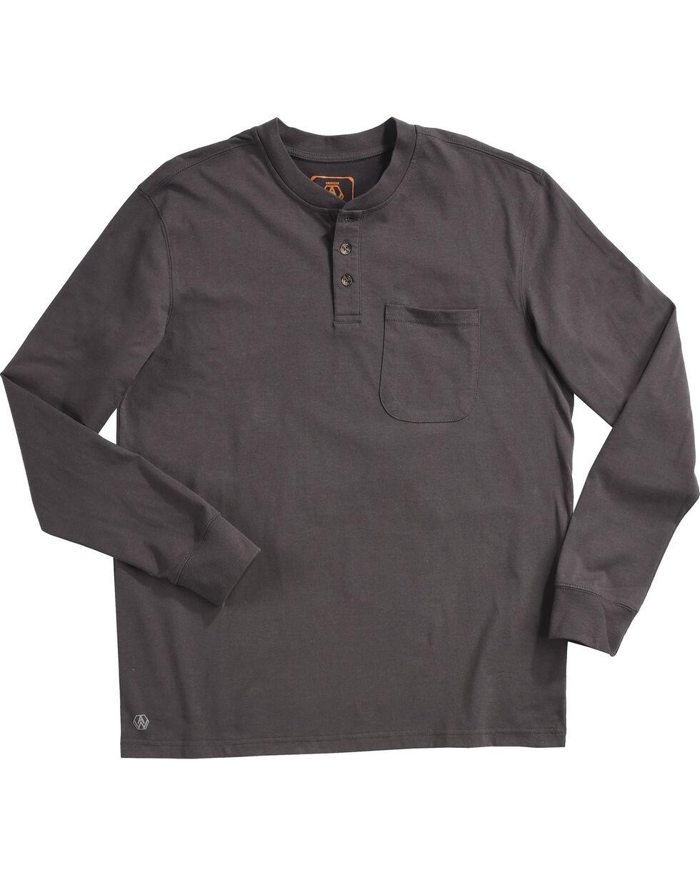 American Worker Men's Charcoal Mason Pocket Henley Shirt , Charcoal, hi-res
