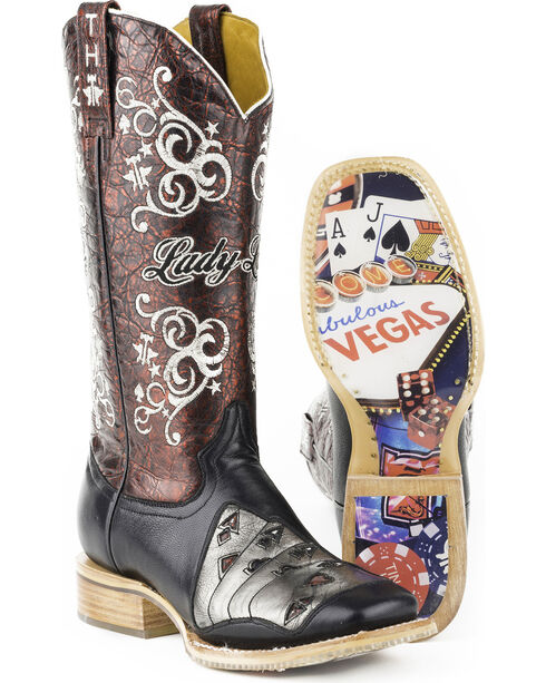 Tin Haul Women's Winning Hand Casino Sole Cowgirl Boots - Square Toe, Black, hi-res