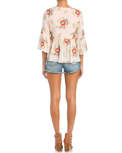 Miss Me 3/4 Sleeve Lace Up Top, Light Pink, hi-res