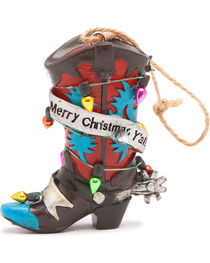 BB Ranch Light Wrapped Red Boot Ornament , , hi-res