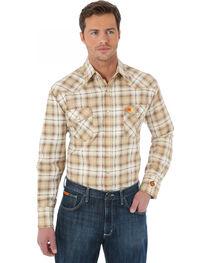 Wrangler Western Khaki Plaid Flame Resistant Work Shirt, , hi-res