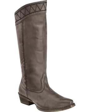 Roper Women's Tall Top V Western Boots, Black, hi-res