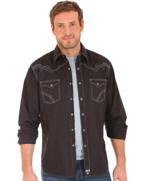 Wrangler Rock 47 Men's Black Embroidered Stitch Long Sleeve Snap Shirt - Big and Tall, Black, hi-res