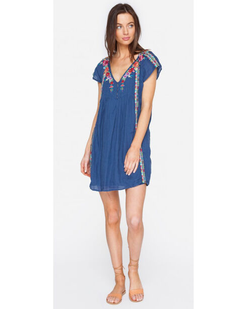 Johnny Was Women's Natalya Cap Sleeve Pintuck Dress , Navy, hi-res