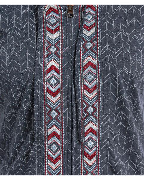 Panhandle Women's Aztec Embroidered Full Zip Hoodie, Navy, hi-res