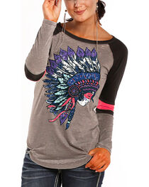 Rock & Roll Cowgirl Headdress Varsity Long Sleeve T-Shirt, , hi-res