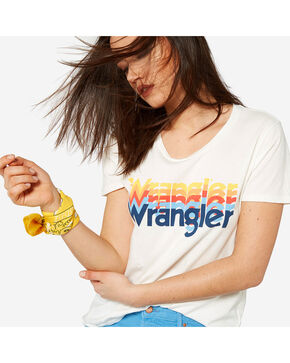 Wrangler Women's 70th Anniversary Kabel Logo Tee, White, hi-res