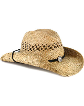 Cody James® Men's Longhorn Concho Straw Cowboy Hat, Natural, hi-res