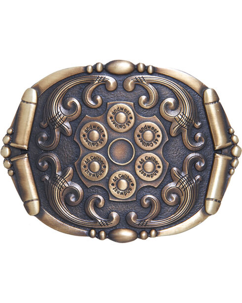 AndWest Men's Antique Bronze Revolver Belt Buckle, Brass, hi-res