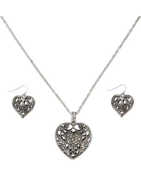 Shyanne® Women's Filigree Heart Jewelry Set, Silver, hi-res