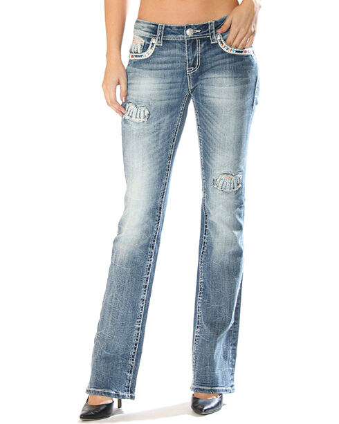 Grace in LA Women's Feather Pocket Jeans - Boot Cut , Medium Blue, hi-res