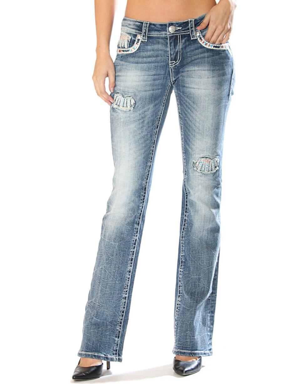 Grace in LA Women's Feather Pocket Jeans - Boot Cut , , hi-res
