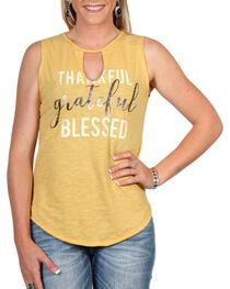 """Cut & Paste Women's """"Blessed"""" Cutout Tank Top, , hi-res"""