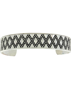 Montana Silversmiths Silver Diamond Pattern Cuff Bracelet , Silver, hi-res