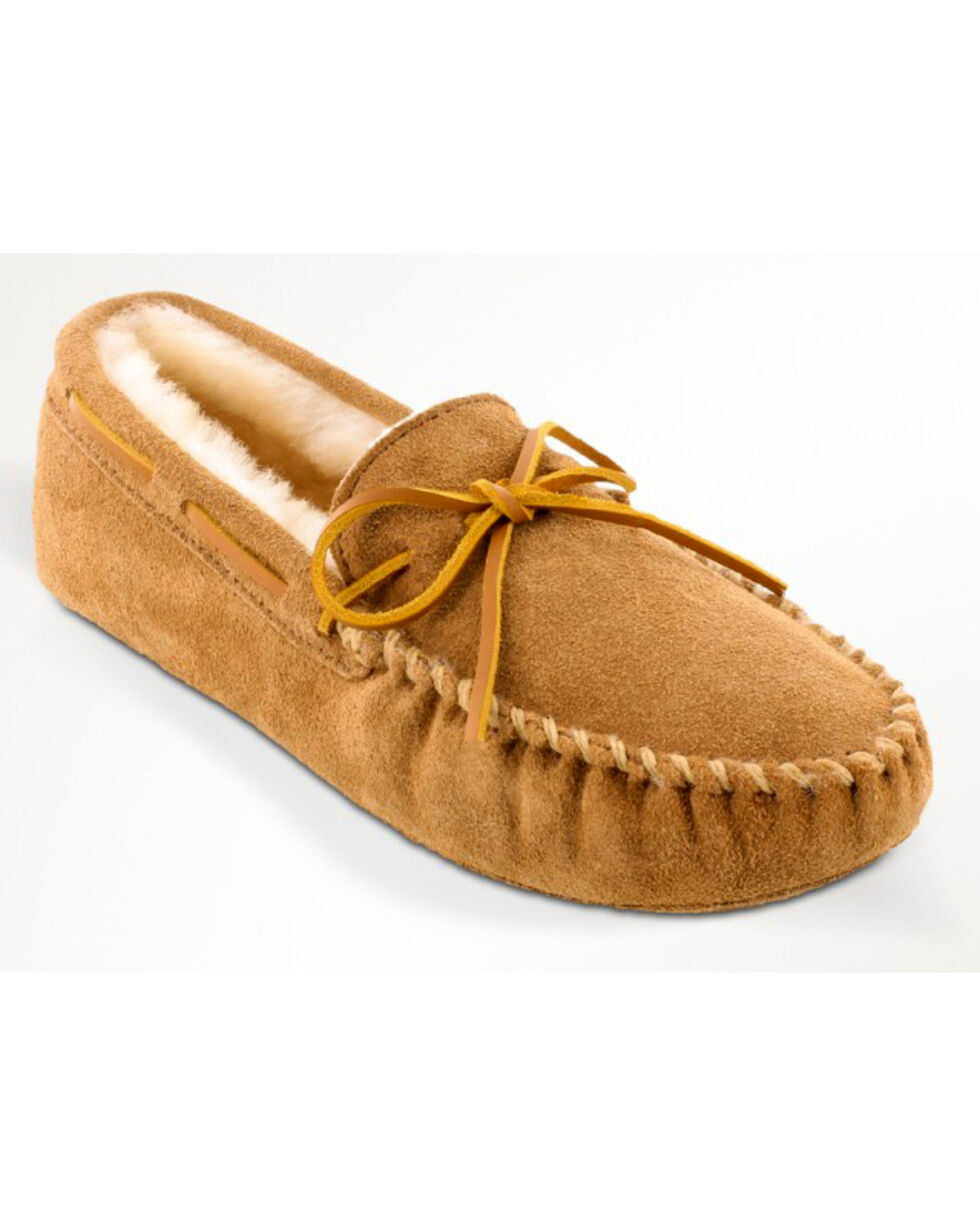 Minnetonka Men's Sheepskin Softsole Moccasins - Extended Sizes, Tan, hi-res