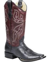 Roper Women's Butterfly Western Boots, Black, hi-res
