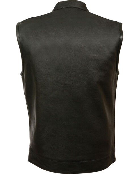 Milwaukee Leather Men's Open Neck Club Style Vest - 5X, Black, hi-res