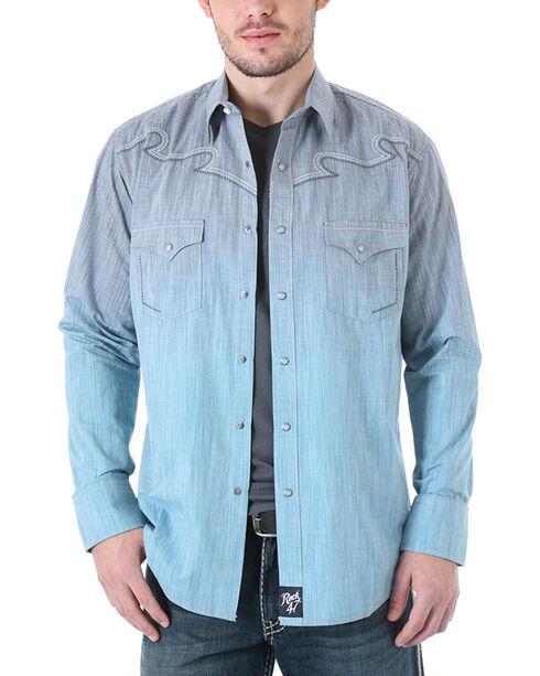Rock 47 by Wrangler Men's Western Embroidered Ombre Long Sleeve Shirt , Grey, hi-res