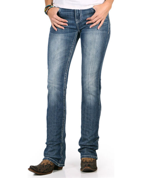 Grace in LA Women's Diamond Embroidered Boot Cut Jeans, Blue, hi-res