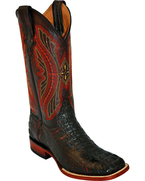 Ferrini Men's Caiman Crocodile Exotic Western Boots, Black Cherry, hi-res