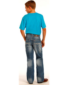 "Rock & Roll Cowboy Boys' ""A"" Embroidery Running Stitch Jeans - Boot Cut, Indigo, hi-res"
