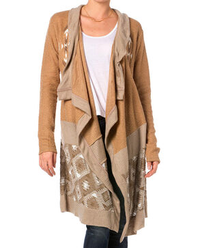 Miss Me Women's Long Embroidered Drape Cardigan, Taupe, hi-res