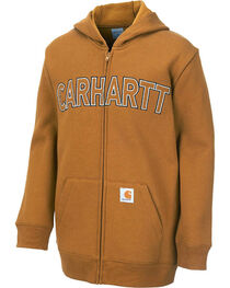 Carhartt Youth Logo Fleece Zip Sweatshirt, , hi-res