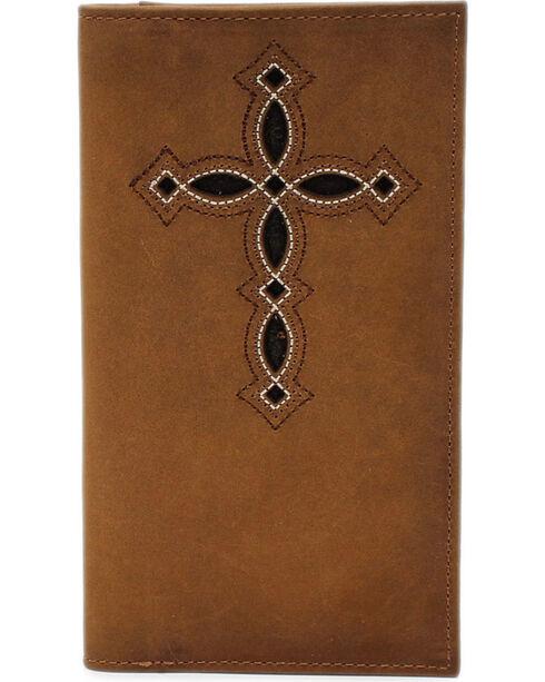 M&F Western Rodeo Wallet with Pierced Cross, Medium Brown, hi-res
