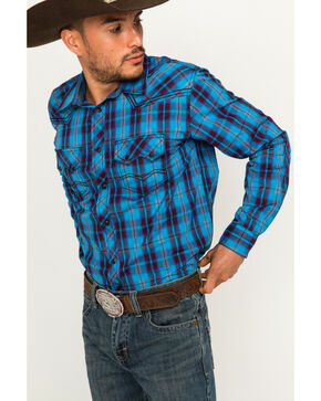 Cody James® Men's Plaid Long Sleeve Shirt, Blue, hi-res