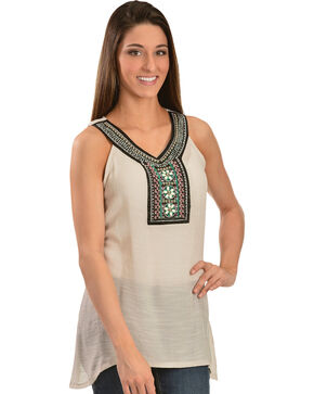 Wrangler Women's Jeweled Tank Top, White, hi-res