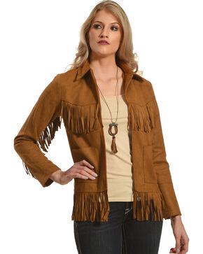 Polagram Women's Camel Faux Suede Fringe Jacket , Camel, hi-res