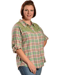 Red Ranch Women's Long Sleeve Crochet Flannel Green Plaid Shirt - Plus, , hi-res