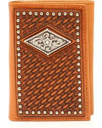 Ariat Basketweave Diamond Concho Trifold Wallet, , hi-res
