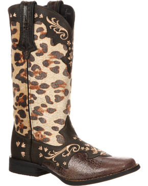 Durango Women's Crush Leopard Print Cowgirl Boots - Square Toe, Dark Brown, hi-res