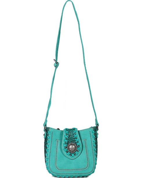 Trinity Ranch Women's Turquoise Whipstitch Filigree Shoulder Bag , Turquoise, hi-res