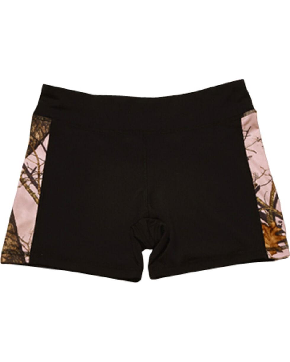 Wilderness Dreams Women's Black and Pink Mossy Oak Break-Up Active Shorts, Black, hi-res