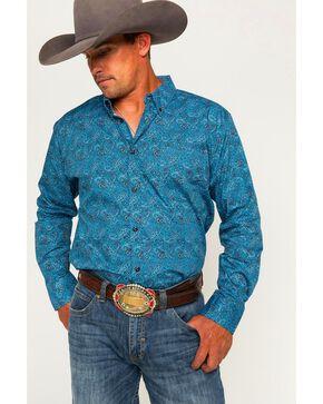 Cody James® Men's Paisley Long Sleeve Shirt, Blue, hi-res