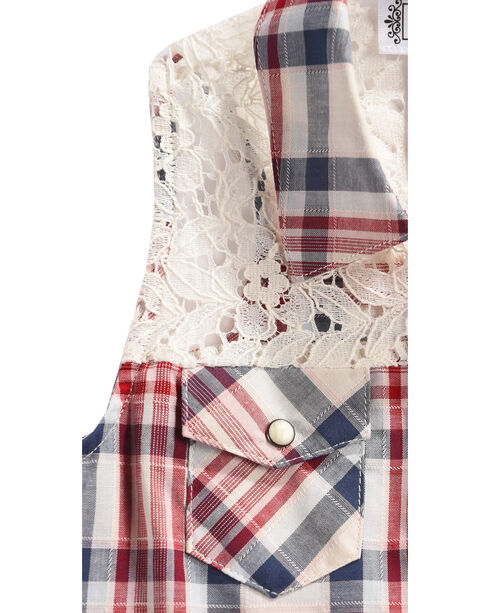 Shyanne Girls' Plaid and Lace Sleeveless Shirt, White, hi-res