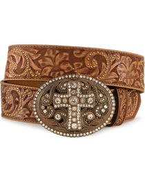 Justin Women's Leather Floral Belt and Cross Buckle, , hi-res