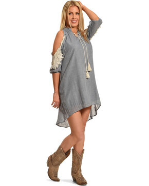 Angel Ranch Women's Blue Cold Shoulder Boho Dress , Blue, hi-res