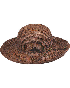 Peter Grimm Chamomile Dark Brown Raffia Straw Sun Hat, Dark Brown, hi-res