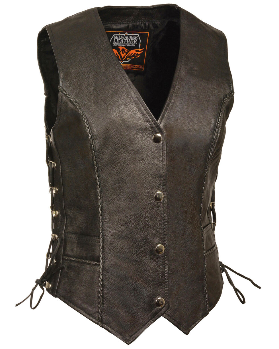 Milwaukee Leather Women's Snap Front Vest With Thin Braid - 5X, Black, hi-res