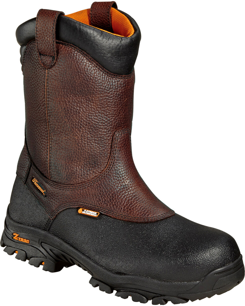 "Thorogood Men's 8"" Waterproof Wellington Crossover Work Boots - Composite Toe, Brown, hi-res"