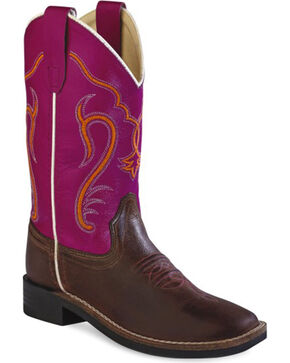 Old West Kids' Colorful Western Cowboy Boots - Square Toe, Brown, hi-res