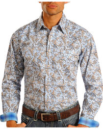 Panhandle Rough Stock Men's Tapestry Patterned Long Sleeve Shirt, , hi-res