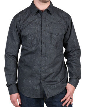 Cody James® Men's Wild Paisley Long Sleeve Shirt, Black, hi-res