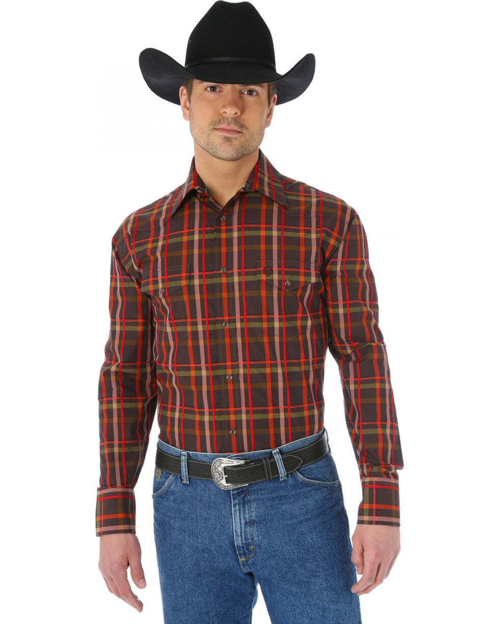 Wrangler George Strait Two Pocket Chestnut and Red Plaid Western Shirt, Chestnut, hi-res