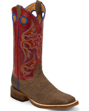 Justin Bent Rail Men's Ostrich Print Western Boots, Brown, hi-res