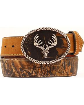 Nocona Camo Leather Belt, Mossy Oak, hi-res
