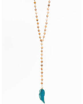 Jewelry Junkie Women's Jasper Rosary Feather Necklace , Blue, hi-res